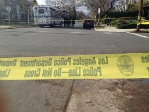 Police tape at the scene of the murder of two USC students near campus, April 11, 2012