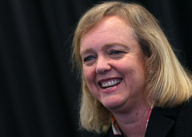 Former eBay CEO and Republican candidate for California governor Meg Whitman smiles as she speaks to members of the Silicon Valley Leadership Group at the Yahoo! headquarters April 27, 2009 in Sunnyvale, California.