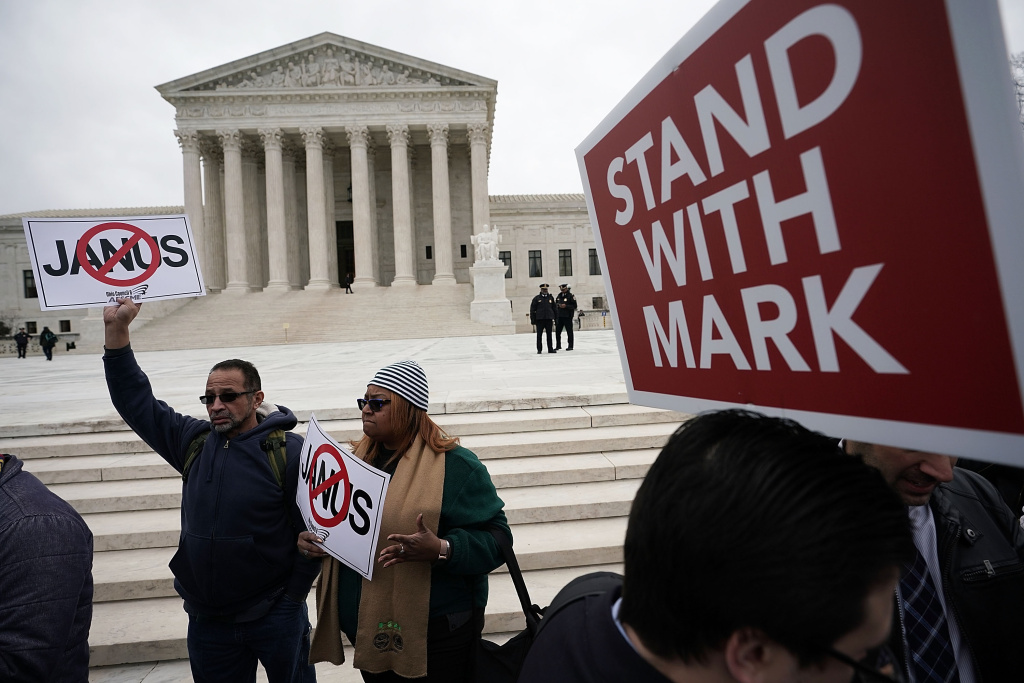 Activists rally in front of the U.S. Supreme Court on February 26, 2018 in Washington, DC. The court is scheduled to hear the case, Janus v. AFSCME, to determine whether states violate their employees' First Amendment rights to require them to join public sector unions which they may not want to associate with.
