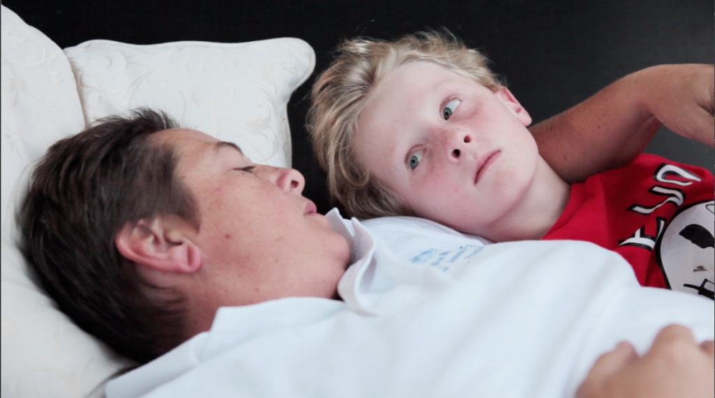 Gus and his mom Jamie in a scene from the documentary