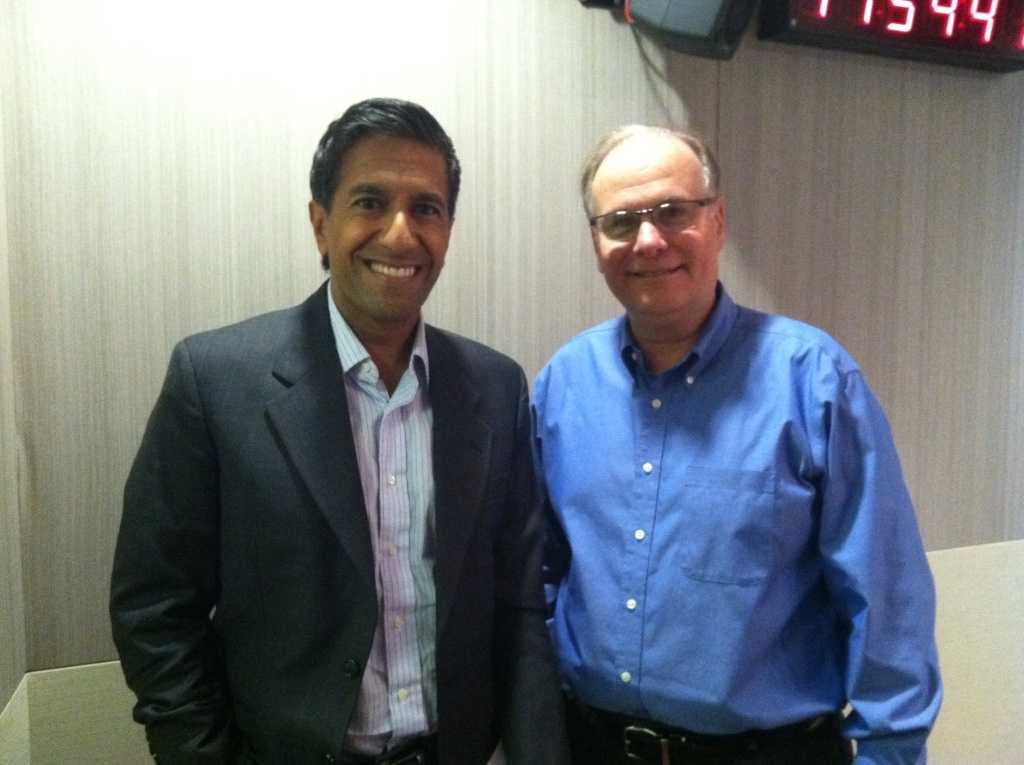 Larry Mantle with Dr. Sanjay Gupta in the AirTalk studio.