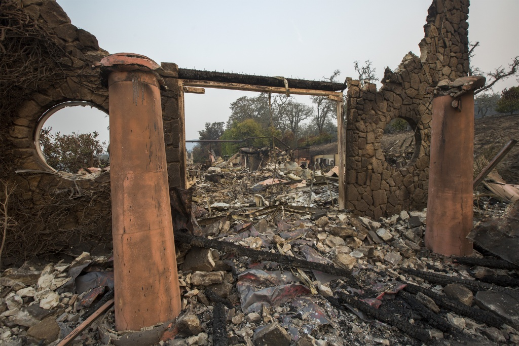 NAPA, CA - OCTOBER 11: The family-owned winery, Signorello Estate, on Napa's Silverado Trail is left ruins by the Atlas Fire on October 11, 2017 near Napa, California. In one of the worst wildfires in state history, more than 2,000 homes have burned and at least 17 people have been killed as more than 14 wildfires continue to spread with little containment in eight Northern California counties.   (Photo by David McNew/Getty Images)