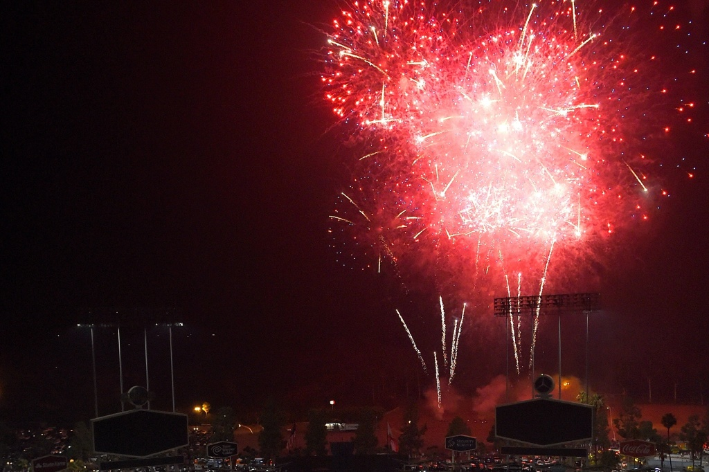 File: A Fourth of July fireworks display takes place after the L.A. Dodgers defeat the Baltimore Orioles 7-5 at Dodger Stadium on July 4, 2016 in Los Angeles.