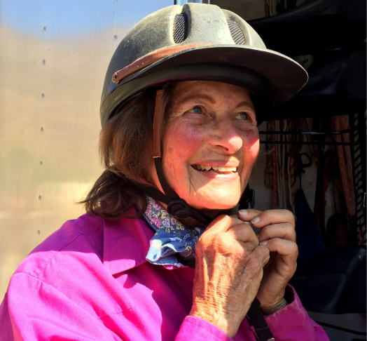 81-year old Ruth Gerson prepares for her 67-mile ride down the Backbone Trail of the Santa Monica Mountains.