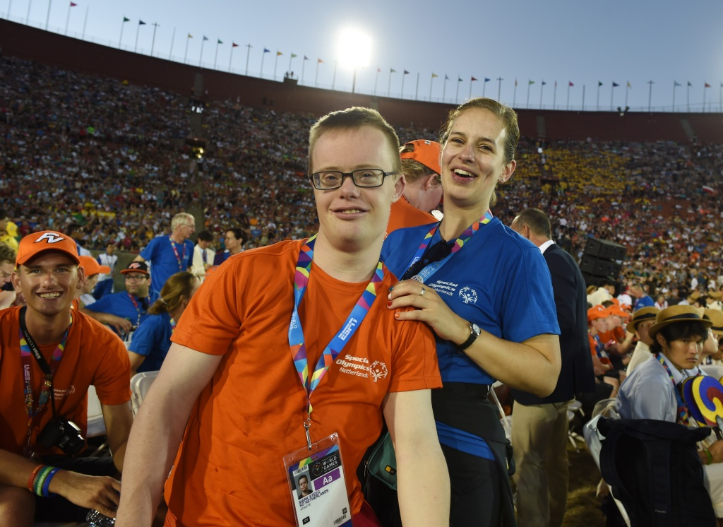 Athlete Mark Steeg (C) from the Netherlands takes part in the opening ceremony of the 2015 Special Olympics World Games at the Los Angeles Memorial Coliseum in Los Angeles on July 25, 2015. A philanthropic foundation on Saturday announced a $25 million donation, the largest single private gift in the Special Olympics' 47-year history.