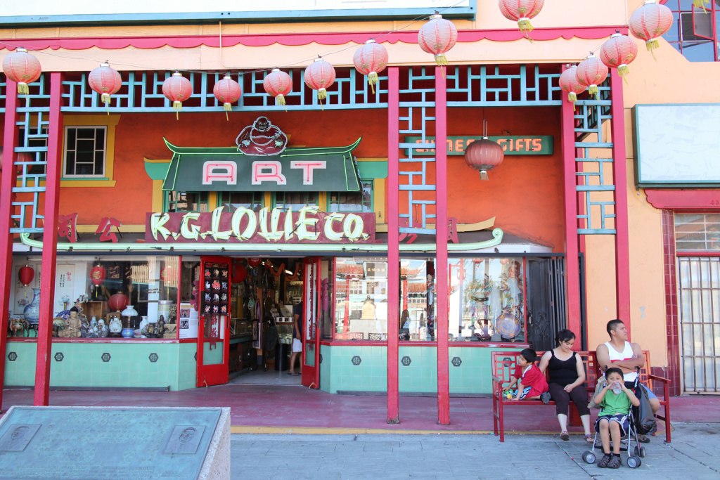 A family waits outside of a store in L.A.'s Chinatown on June 18th, 2013.