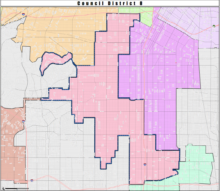 South LA, District 8 (in light pink), was designated a Promise Zone.