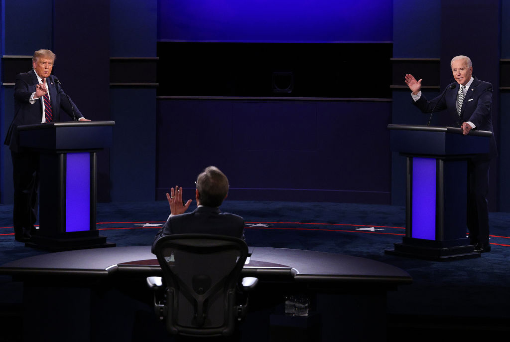 U.S. President Donald Trump and Democratic presidential nominee Joe Biden participate in the first presidential debate moderated by Fox News anchor Chris Wallace.