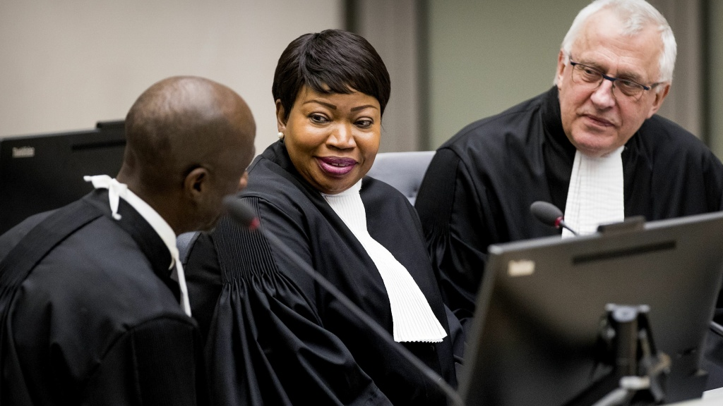 The office of International Criminal Court prosecutor Fatou Bensouda (center) says her visa for U.S. travel has been stripped. The State Department confirmed the move Friday.