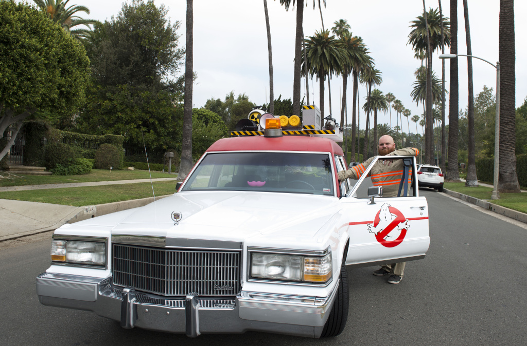 The Ghostbusters company car, Ecto1 is seen as it drives through the streets of Beverly Hills during Lyft Ghost Mode in Hollywood, California, on July 1, 2016.