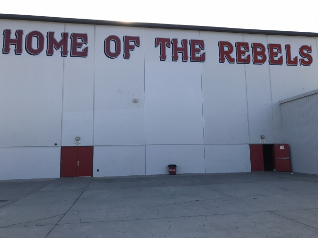 A mural at Savanna High School showing their mascot, the Rebel. The mascot was painted over in November 2017.