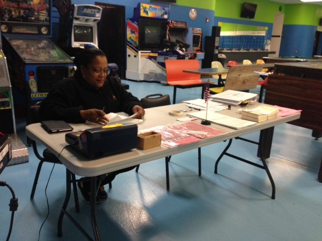 Volunteer Cynthia Shaw waits for voters to show up for a special election in Fontana. Not one voter turned up in the first three hours the polls were open.