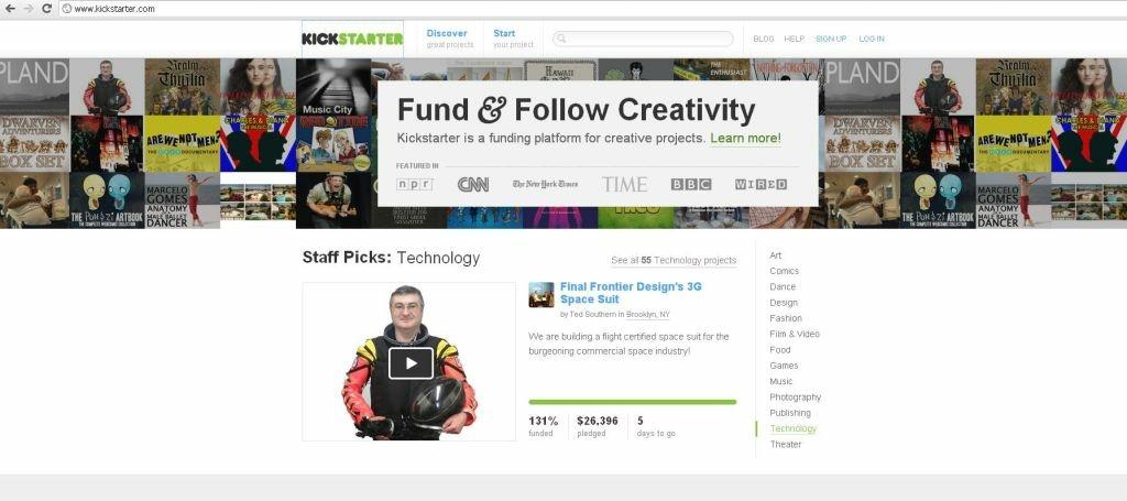 A screenshot of Kickstarter's front page.