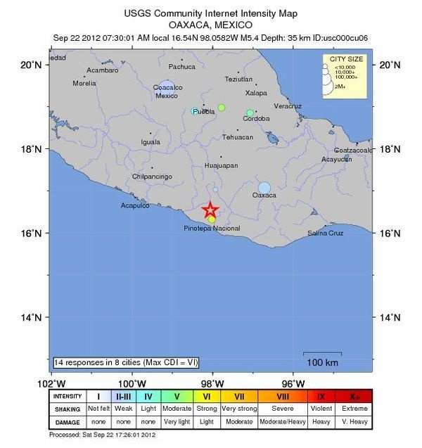 Map of the 5.4 Mexican earthquake