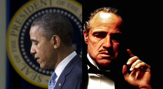 President Obama and Marlon Brando as Don Corleone