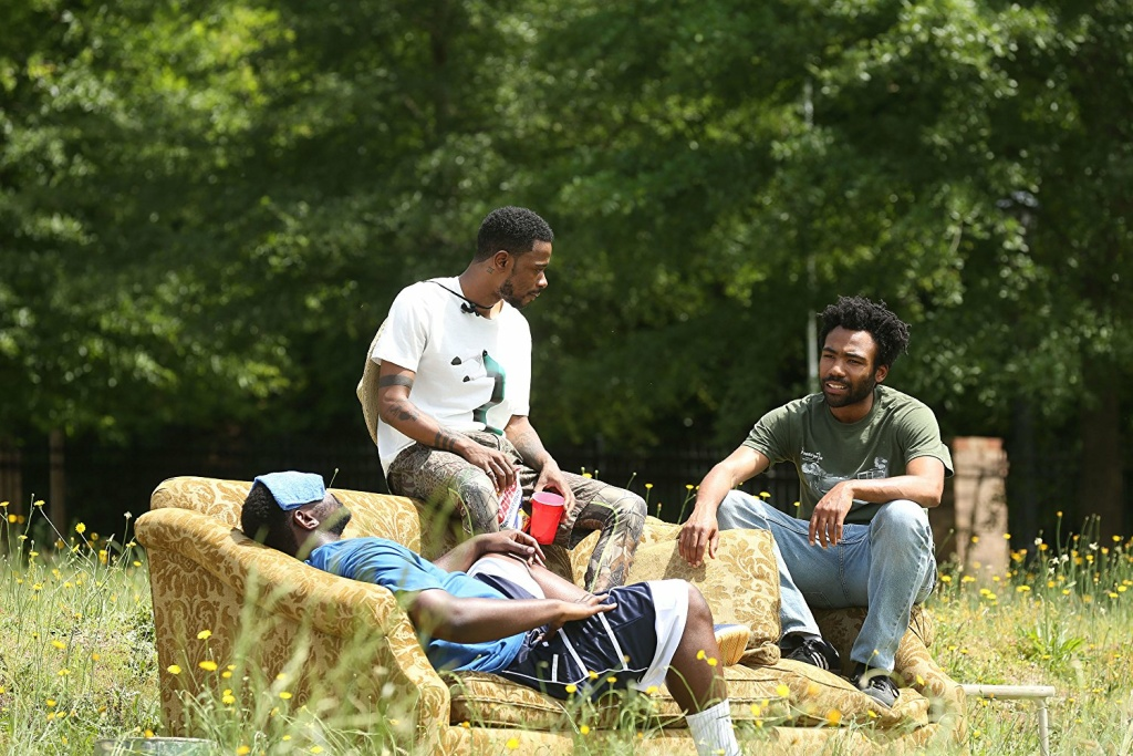 (L-R) Brian Tyree Henry, Lakeith Stanfield and Donald Glover in a scene from