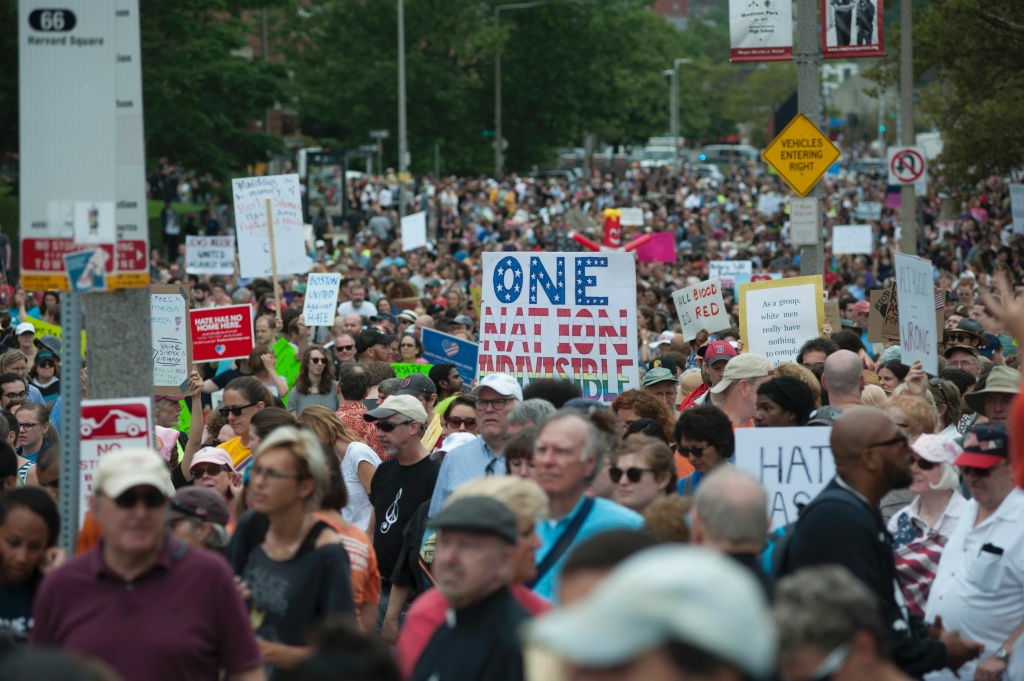 Counter-protestors to the Boston