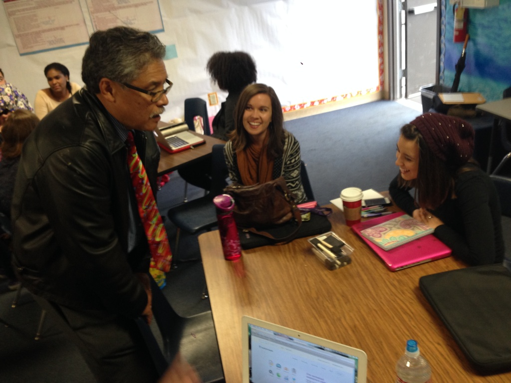 Felipe Golez, California State University education professor, talks to student teachers about future job prospects.