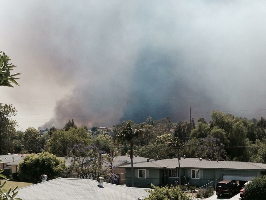 A fire burns in Camp Pendleton Monday afternoon.