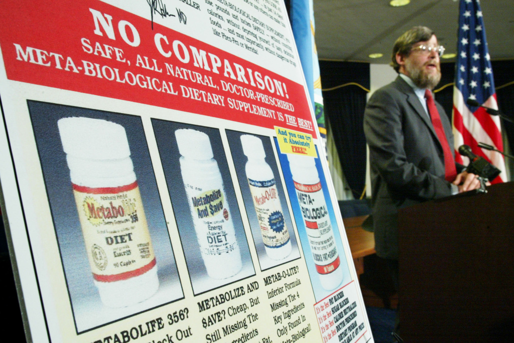 Howard Beales, former Director of the Federal Trade Commission's (FTC) Bureau of Consumer Protection, speaks during a news conference to announce action against direct marketers of weight-loss products with false advertising claims in 2003. The FTC filed charges on three individuals that overstated the benefits and understated the risks of using their weight-loss products.