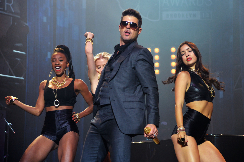 File: Singer Robin Thicke performs at the 2013 MTV VMAs Concert to Benefit LifeBeat presented by MTV and Time Warner Cable at Terminal 5 on Aug. 23, 2013 in New York City.