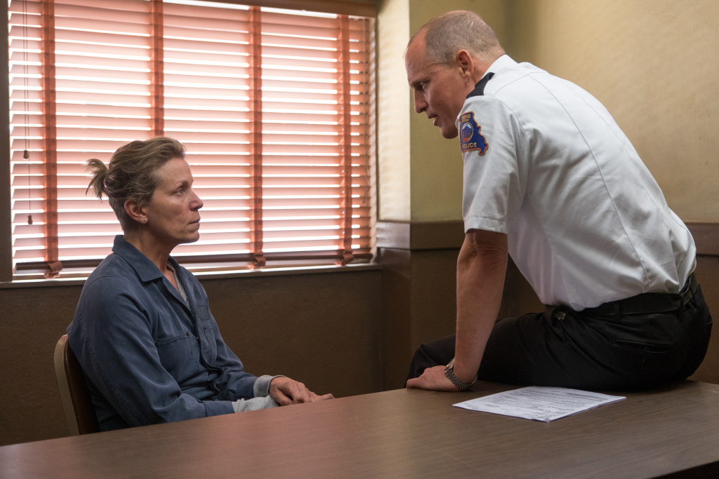 Frances McDormand and Woody Harrelson in the film THREE BILLBOARDS OUTSIDE EBBING, MISSOURI.