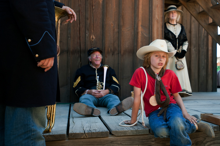 Performers from the Band of the California Battalion prepare for a parade down Main Street on Sunday during the 20th annual Santa Clarita Cowboy Festival at the Melody Ranch Motion Picture Studio, where Oscar-winning film Django Unchained was filmed.