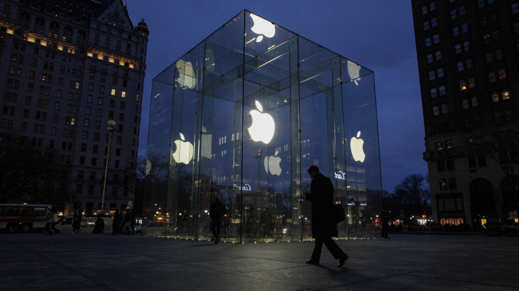 A man walks outside the Apple store on the Fifth Avenue in New York on Wednesday.