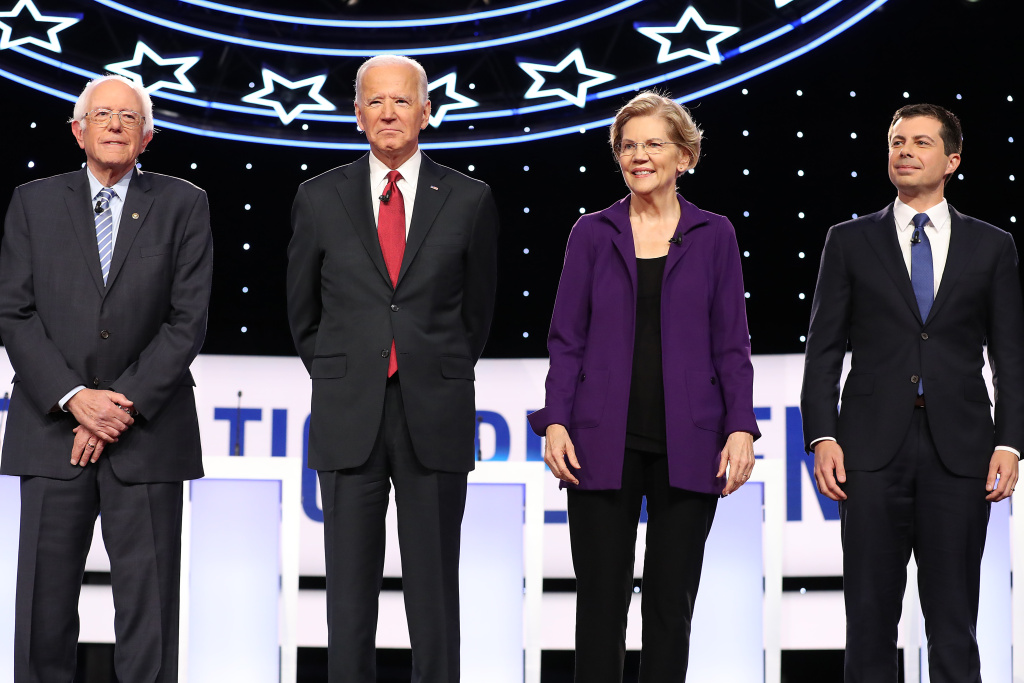 Sen. Bernie Sanders (I-VT), former Vice President Joe Biden, Sen. Elizabeth Warren (D-MA), and South Bend, Indiana Mayor Pete Buttigieg are introduced before the Democratic Presidential Debate.