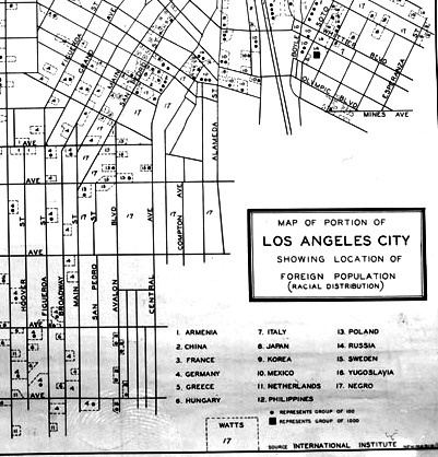 A Federal Writers' Project map of LA, dated October 1936.