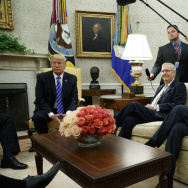 President Trump meets with Senate Majority Leader Mitch McConnell, R-Ky., Senate Minority Leader Chuck Schumer, D-N.Y., and House Minority Leader Nancy Pelosi, D-Calif., and other congressional leaders in the Oval Office on Wednesday.