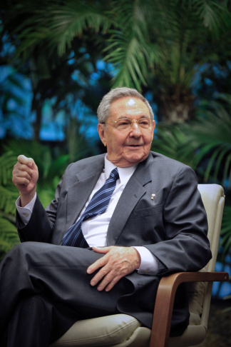 Cuban President Raul Castro speaks durin