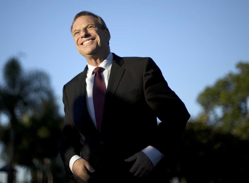 This Nov. 7, 2012 file photo shows San Diego Mayor Bob Filner smiling during a news conference at a park in San Diego. A prominent onetime supporter of Mayor Filner is calling for him to resign after less than a year in office amid allegations that he sexually harassed women.