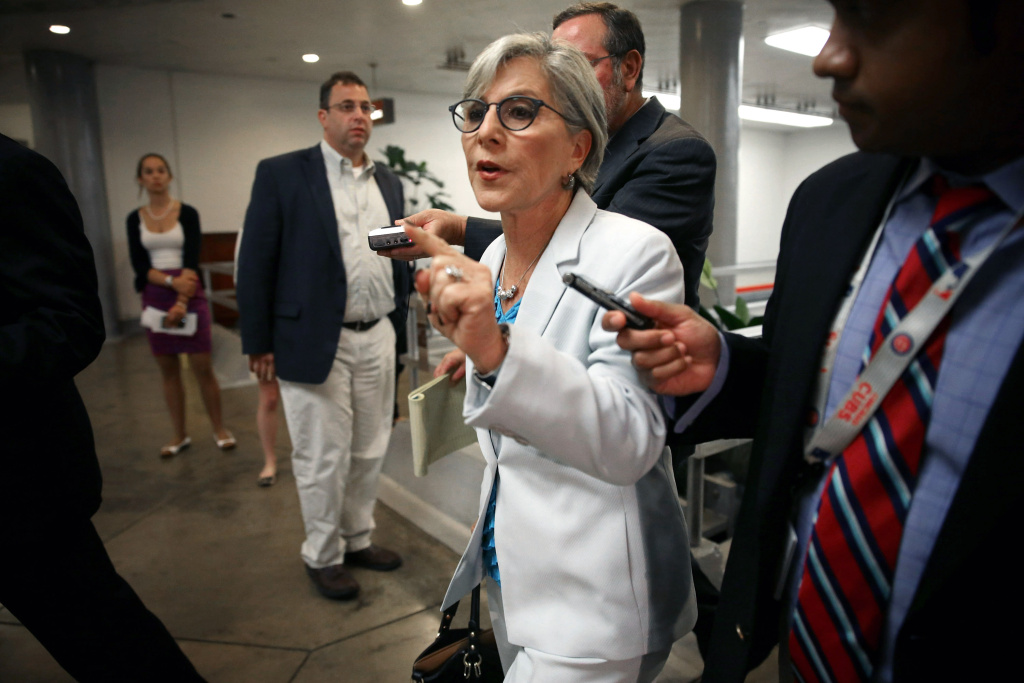 Sen. Barbara Boxer (D-CA) talks to reporters before heading into a members-only classified briefing about Syria at the U.S. Capitol September 3, 2013 in Washington, DC.