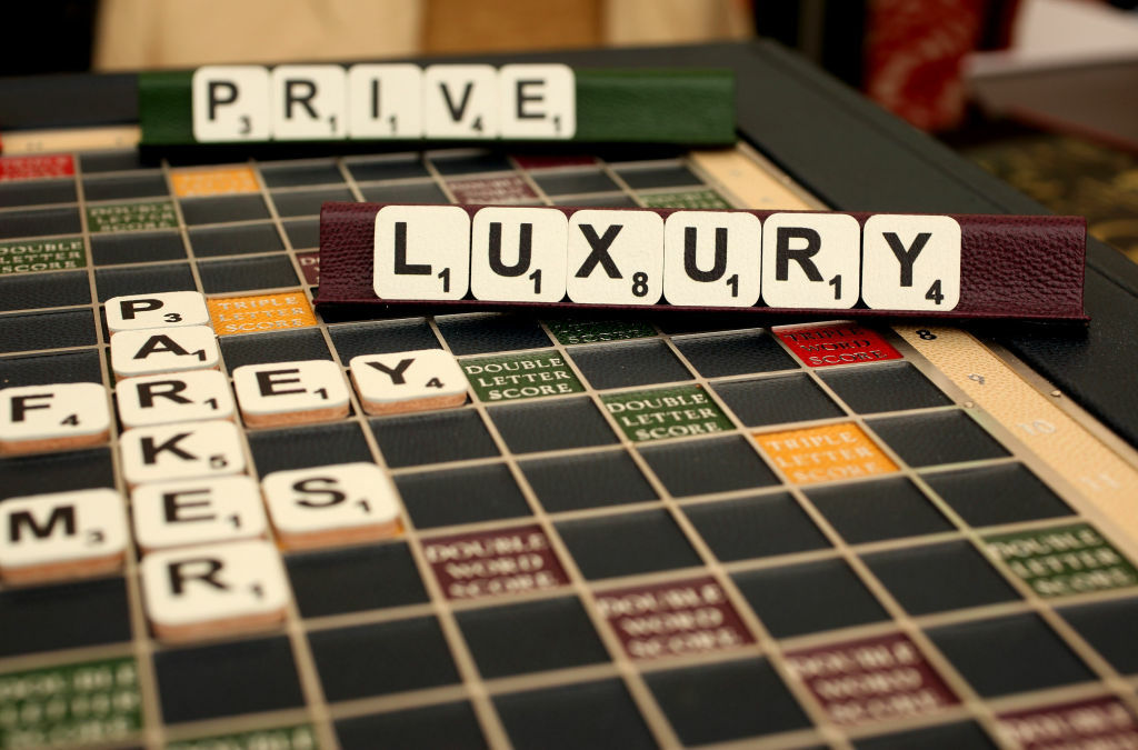 A leather-bound Scrabble board is for sale on the Geoffrey Parker Games trade stand at the