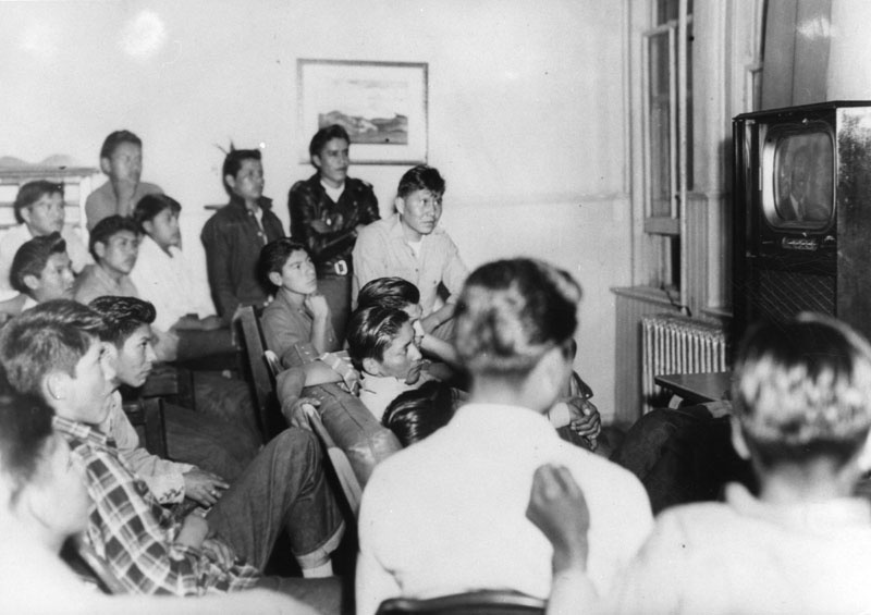 Navajo boys watching tv in an undated photo