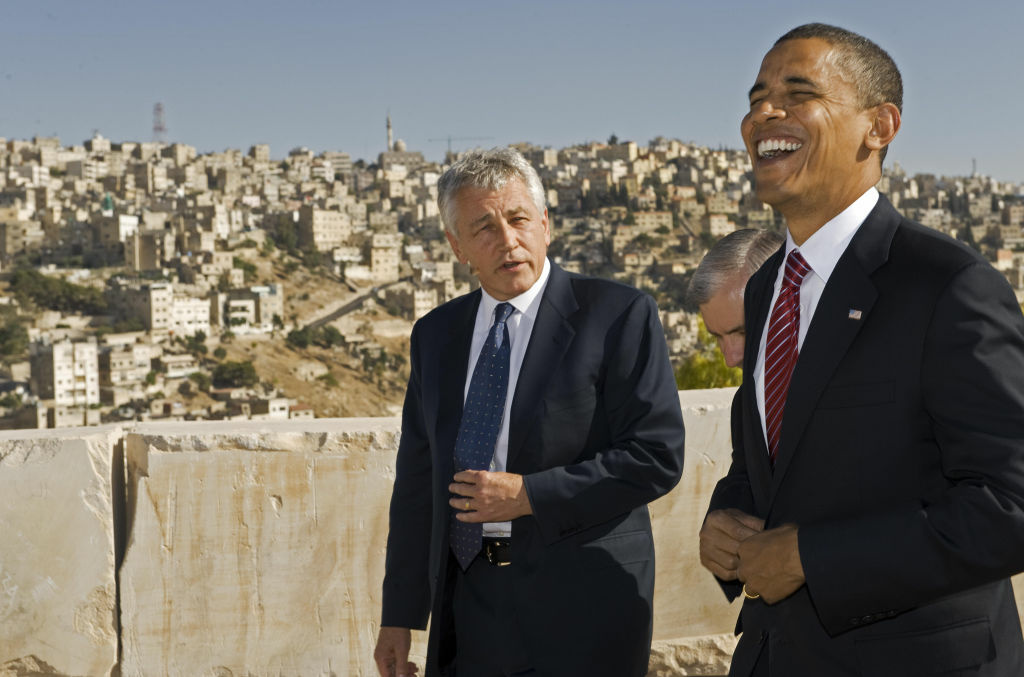 US Democratic presidental candidate Barack Obama (R) shares a laugh with US Senator Chuck Hagel R-Neb., as they tour the Citadel in 2008.