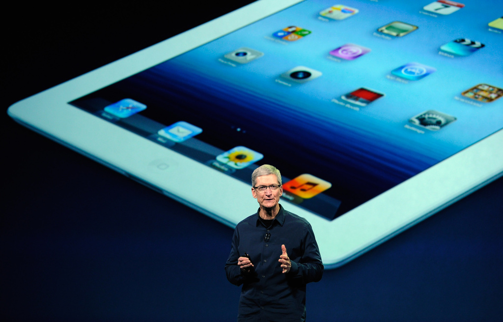 Apple CEO Tim Cook speaks during an Apple product launch event at Yerba Buena Center for the Arts on March 7, 2012 in San Francisco, California.
