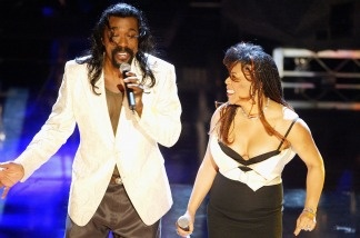 Nick Ashford and Valerie Simpson of Ashford and Simpson perform at 'Motown 45' Anniversary Celebration Show held at the Shrine Auditorium, April 4, 2004 in Los Angeles, California.