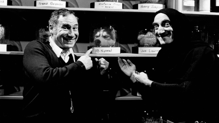Mel Brooks with one of the stars of Young Frankenstein, Marty Feldman