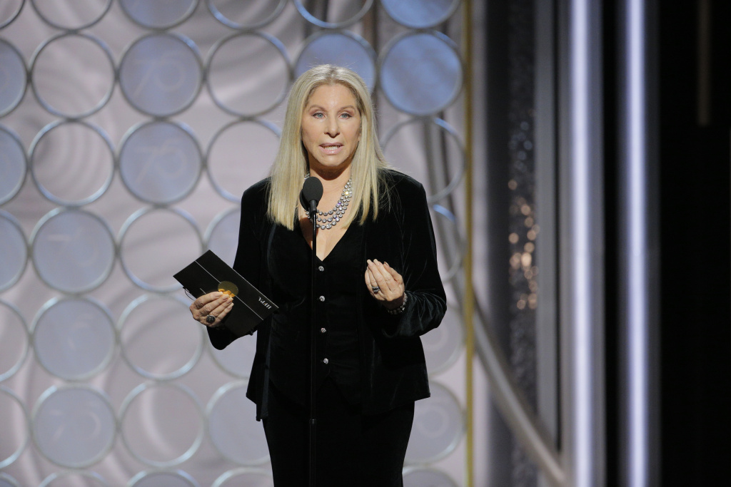 In this handout photo provided by NBCUniversal, Barbra Streisand speaks onstage during the 75th Annual Golden Globe Awards at The Beverly Hilton Hotel on January 7, 2018 in Beverly Hills, California.