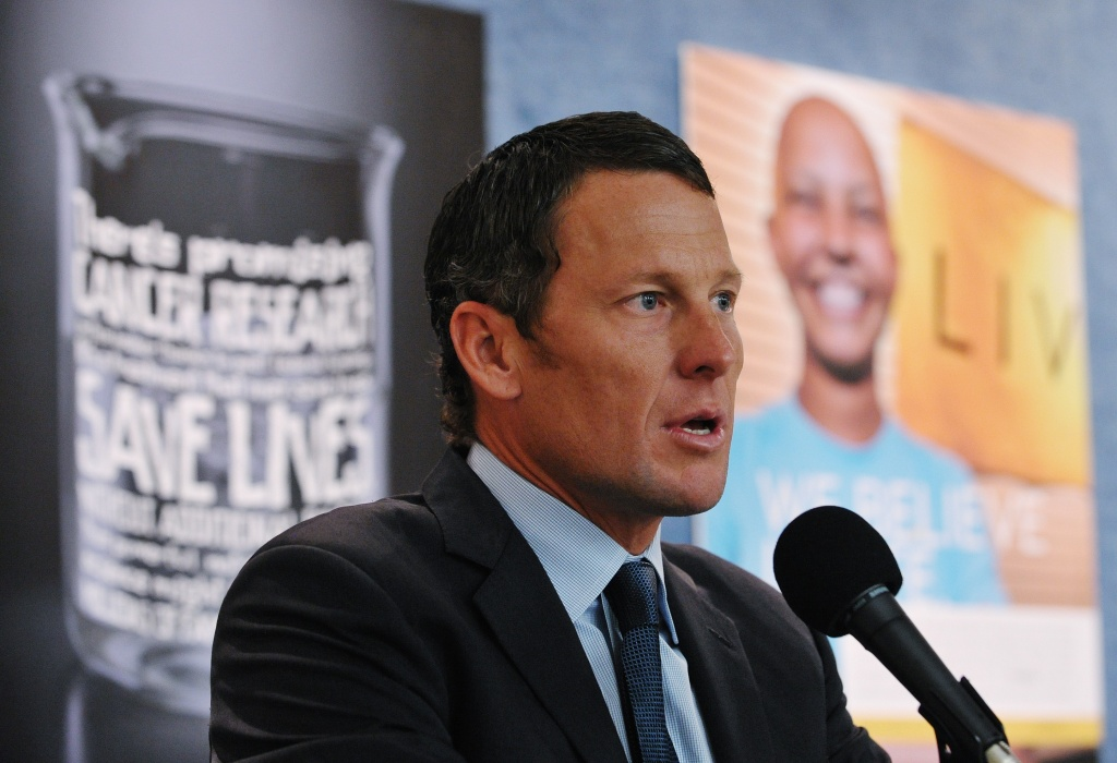 Lance Armstrong, chairman and founder at LIVESTRONG, speaks during a press conference by the American Cancer Society Cancer Action Network and LIVESTRONG March 24, 2011 at the National Press Club in Washington, DC.
