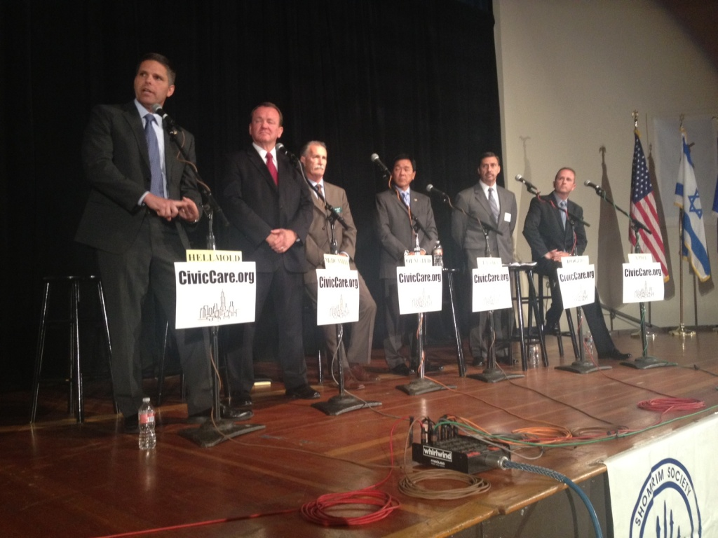LA sheriff candidates, from left: James Hellmold, Jim McDonnell, Bob Olmsted, Paul Tanaka, Todd Rogers and Lou Vince at the Westside Jewish Community Center Sunday night.