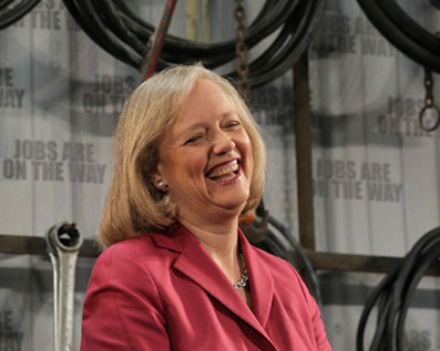 California republican gubernatorial candidate Meg Whitman laughs as she speaks to workers at Graniterock May 28, 2010 in Redwood City, California. With less than one week to go until the California primary election, Meg Whitman toured the Graniterock facility and spoke to workers about her plan if she is elected.