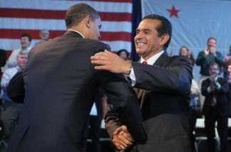 President Barack Obama greets Los Angeles Mayor Antonio Villaraigosa during a town hall meeting March 19, 2009 in Los Angeles.