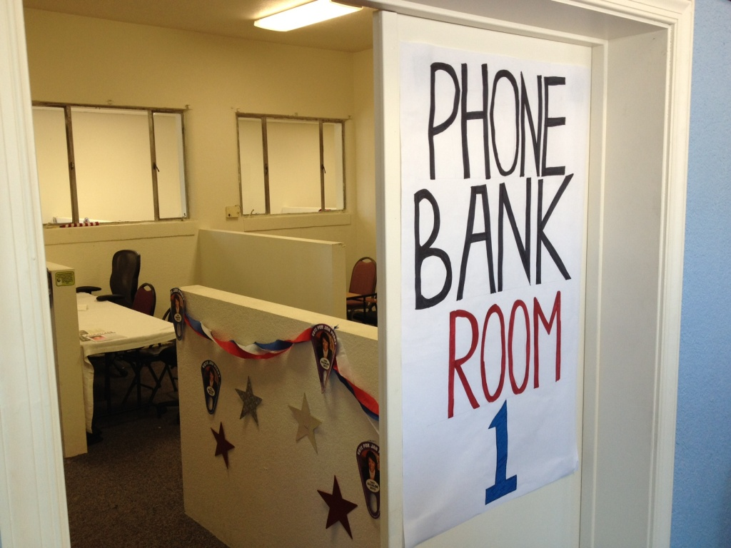 Campaigns mostly use cellular phones now, but people still need a place to call.  This is one of the rooms at Jan Perry's mayoral campaign office, which opened on 31st Street near USC this weekend.