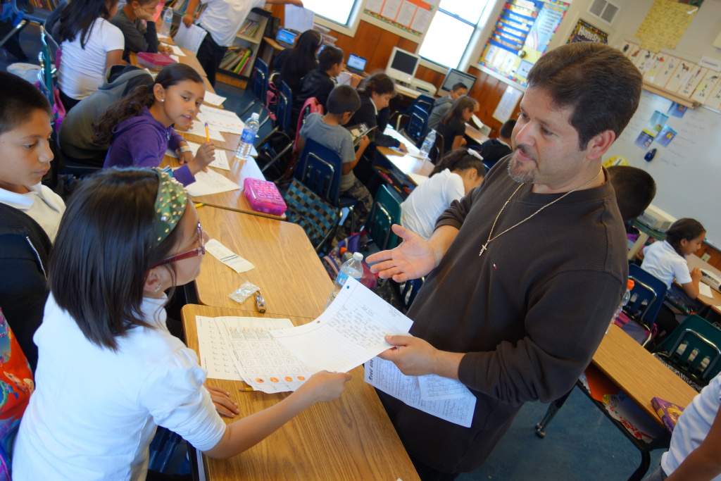 Oscar Ramos and his 3rd grade class at Sherwood Elementary School, Salinas, California