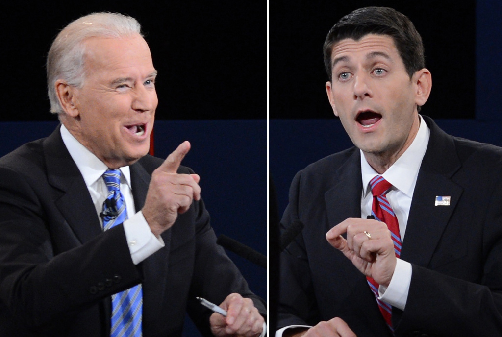 A combination picture of the vice presidential debate between US Vice President Joe Biden (L) and Republican vice presidential candidate Paul Ryan (R) at the Norton Center at Centre College in Danville, Kentucky, October 11, 2012, moderated by Martha Raddatz of ABC News.