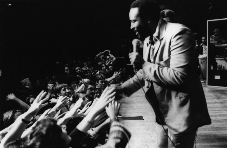 File: Soul singer Marvin Gaye (1939 - 1984) in concert at the Royal Albert Hall on September 29, 1976.