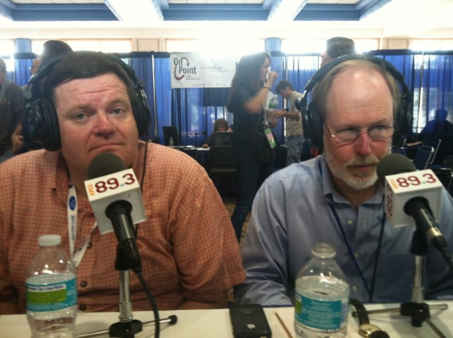 Mike Spence (L) and Doyle McManus (R) on AirTalk at the RNC.
